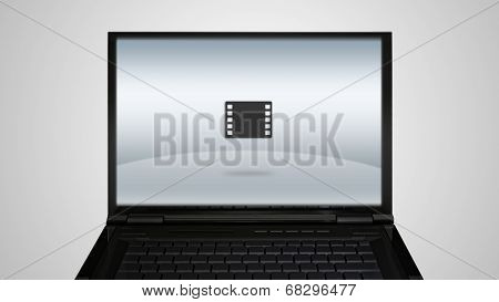 Laptop Monitor Display With Film Icon