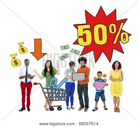 Multi-Ethnic Group Of People and Sale Concepts