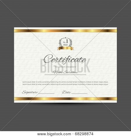 Vector certificate with golden elements