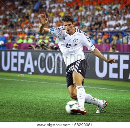 Mario Gomez Of Germany Controls A Ball