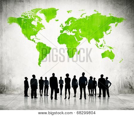 Business People Standing Individually And A Green Cartography Of The World Above.