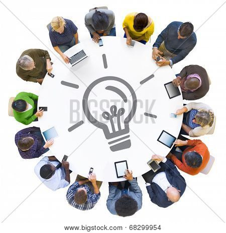 People Using Digital Devices with Light Bulb Symbol
