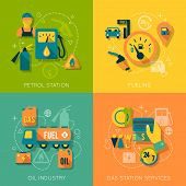 stock photo of gasoline station  - Set of gas fuel station car oil petrol auto service concept flat business icons set for infographics design web elements vector illustration - JPG