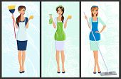 foto of single woman  - Young woman housewife set cleaning with spray and sponge full length portrait banners isolated vector illustration - JPG