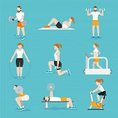 image of cardio exercise  - People training exercise bikes and cardio fitness treadmills with bench press icons collection flat isolated vector illustration - JPG
