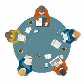 foto of tables  - Flat style office workers business management meeting and brainstorming on the round table in top view vector illustration - JPG