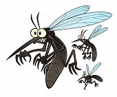 stock photo of malaria parasite  - Vector illustration of flying three cartoon mosquitoes - JPG