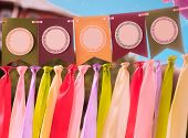 pic of swag  - Colourful festive swag banner with ribbons for party decoration - JPG