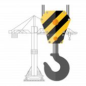 foto of crane hook  - Flat design crane hook and silhouette of crane - JPG