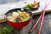 foto of duck breast  - Miso soup with duck breast in red cups - JPG