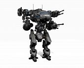 picture of robot  - 3d render of a police robot mech - JPG