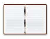 foto of sketch book  - Open notebook with white lined  pages - JPG