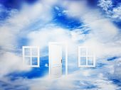 stock photo of dream home  - Open door and windows on fluffy clouds - JPG