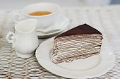 image of darjeeling  - Chocolate crape cake with english tea, afternoon break ** Note: Soft Focus at 100%, best at smaller sizes - JPG