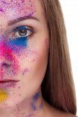 image of face-powder  - Young woman fashion make up and color powder on face - JPG