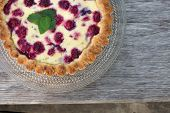 picture of tarts  - raspberry pie on the old wooden bench - JPG