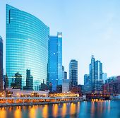 image of willy  - City of Chicago downtown and River with bridges at dusk - JPG