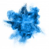 picture of smog  - Blue powder explosion isolated on white background - JPG