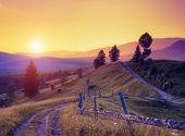 foto of fantasy world  - Fantastic sunny hills under morning sky - JPG