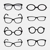 stock photo of protective eyewear  - Vector group of an Glasses on white background - JPG