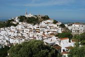picture of pueblo  - View of the town and surrounding countryside pueblo blanco Casares Costa del Sol Malaga Province Andalucia Spain Western Europe - JPG