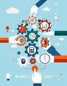 pic of entrepreneurship  - Conceptual vector illustration of a business and entrepreneurship business start or launch with gears and cogs with various icons for industry and business held by hands  one pushing the start button - JPG