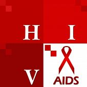 stock photo of std  - Image with four red blocks having HIV Aids text and symbols - JPG