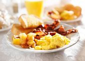 image of hash  - full breakfast with scrambled eggs - JPG