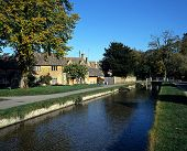 pic of slaughter  - River Eye and centre of village Lower Slaughter Gloucestershire Cotswolds England UK Wesern Europe - JPG