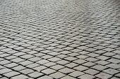 picture of paved road  - Old road paved with the cobble stones - JPG