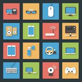 stock photo of peripherals  - Computers peripherals and network devices flat icons set design vector graphic illustration - JPG