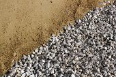 image of sand gravel  - Sand and broken stone diagonal background photo - JPG
