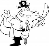 stock photo of peg-leg  - Black and white illustration of an alligator dressed as a pirate - JPG