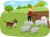 stock photo of herding dog  - Illustration of a Shepherd Dog Herding Shop While Being Watched - JPG