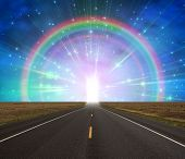 image of gates heaven  - Path to doorway of Light ringed by rainbow - JPG