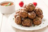 image of veal meat  - Beef meatballs in the plate - JPG