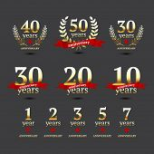 foto of 50s  - Set of anniversary golden signs - JPG