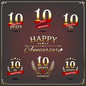 pic of tens  - Vector illustration with ten years anniversary signs - JPG