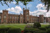 image of ireland  - queens university in Belfast northern Ireland with clouds - JPG