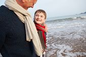 pic of grandfather  - Grandfather And Grandson Walking On Winter Beach - JPG