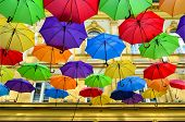 image of serbia  - Street decoration lots of colorful umbrellas in the air Belgrade Serbia - JPG