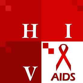 picture of std  - Image with four red blocks having HIV Aids text and symbols - JPG