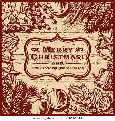 Christmas Retro Card Brown. Fully editable vector.