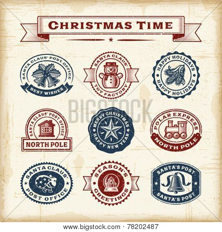 Vintage Christmas stamps set. Fully editable EPS10 vector.