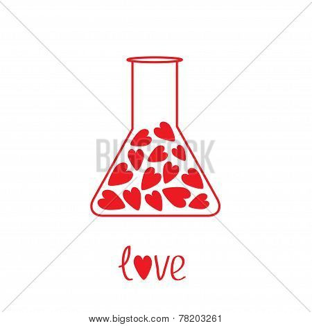 Love Laboratory Glass With Hearts Inside. Card