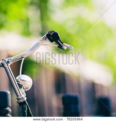 Vintage City Bike Colorful Retro Light And Handlebar