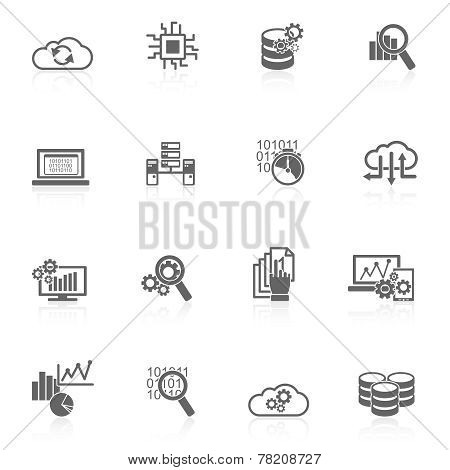 Database analytics icons black