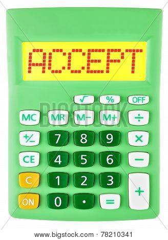 Calculator With Accept On Display Isolated