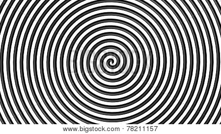 Black and white hypnotic circle 3d view
