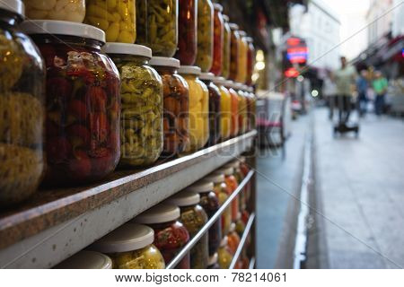 Jars With Marinated And Pickled Vegetables At The Market